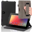For Google Nexus 10 Slim Folio PU Leather Hand Strap Hard Back Case Cover Stand