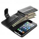 Credit Card Holder Flip Wallet Leather Case Cover For Apple iPhone 5S 5 Black