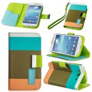 Khaki For Galaxy S3,S4,Note 2,Grand Hybrid Leather Wallet Flip Pouch Case Cover