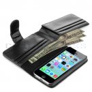 Wallet Flip Pouch Card Holder PU Leather Case Cover for Apple iPhone 5C Black