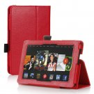 Red Leather Stand Hand Strap Case Cover For New HD 7 2nd Gen