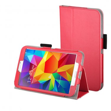 New Red Tablet Samsung Galaxy Tab 4 Folio Stand Smart Cover Case