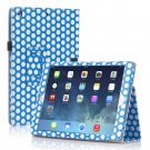 New Polka Dot Blue Slim PU Leather Case Cover For Apple iPad 1 1st Gen