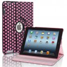New Polka Pink PU Leather Magnetic Case Cover For iPad 4 3 2 & Mini