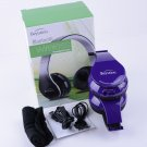 Purple Stereo Wireless Foldable Bluetooth Headphones for Cell Phones LaptopTablet