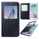New black Luxury S-View Flip Smart Leather Case Cover for Samsung Galaxy S6