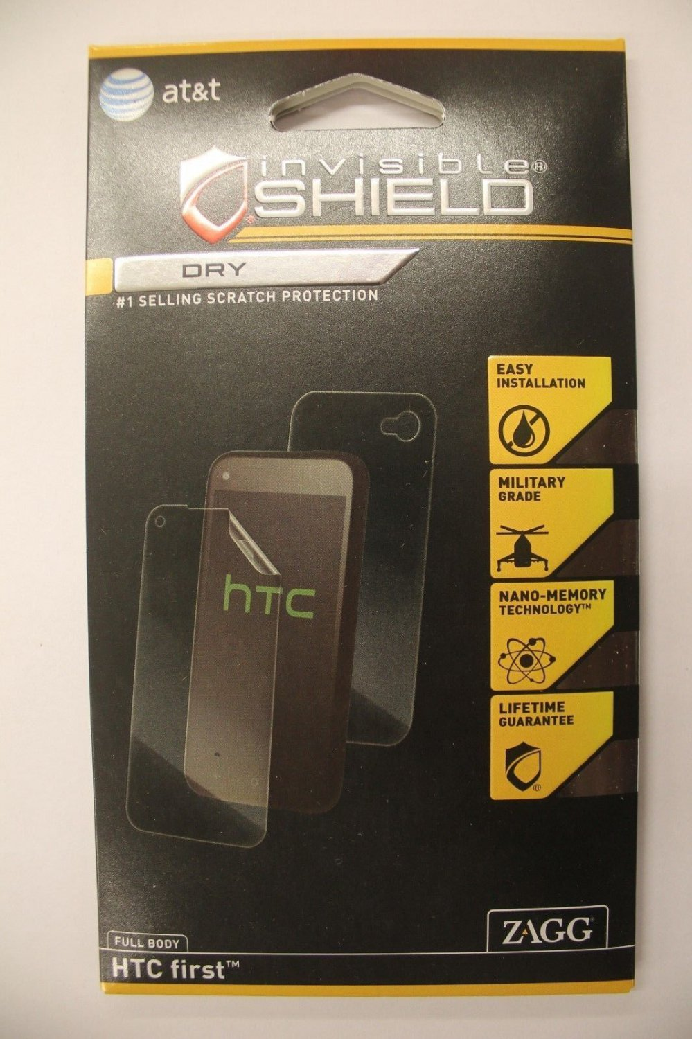 Zagg invisible Shield Dry Full Body HTC first Screen Protection Scratch Proof