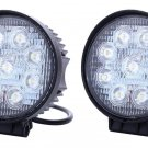 2pcs 27W Round 4 x 4 ATV LED Work Light Flood Lamp Fog Driving Off Road Boat