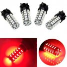 4 x Pure Red Car LED Brake Tail Stop Light 3157 68-SMD Bulbs 3057 3457 4157 3047