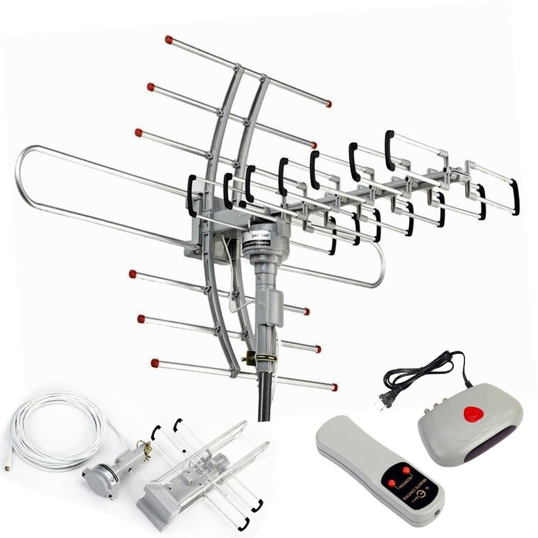 HDTV 1080P Outdoor Amplified Antenna 360° Rotor Digital HDTV UHFVHF FM 150 Miles