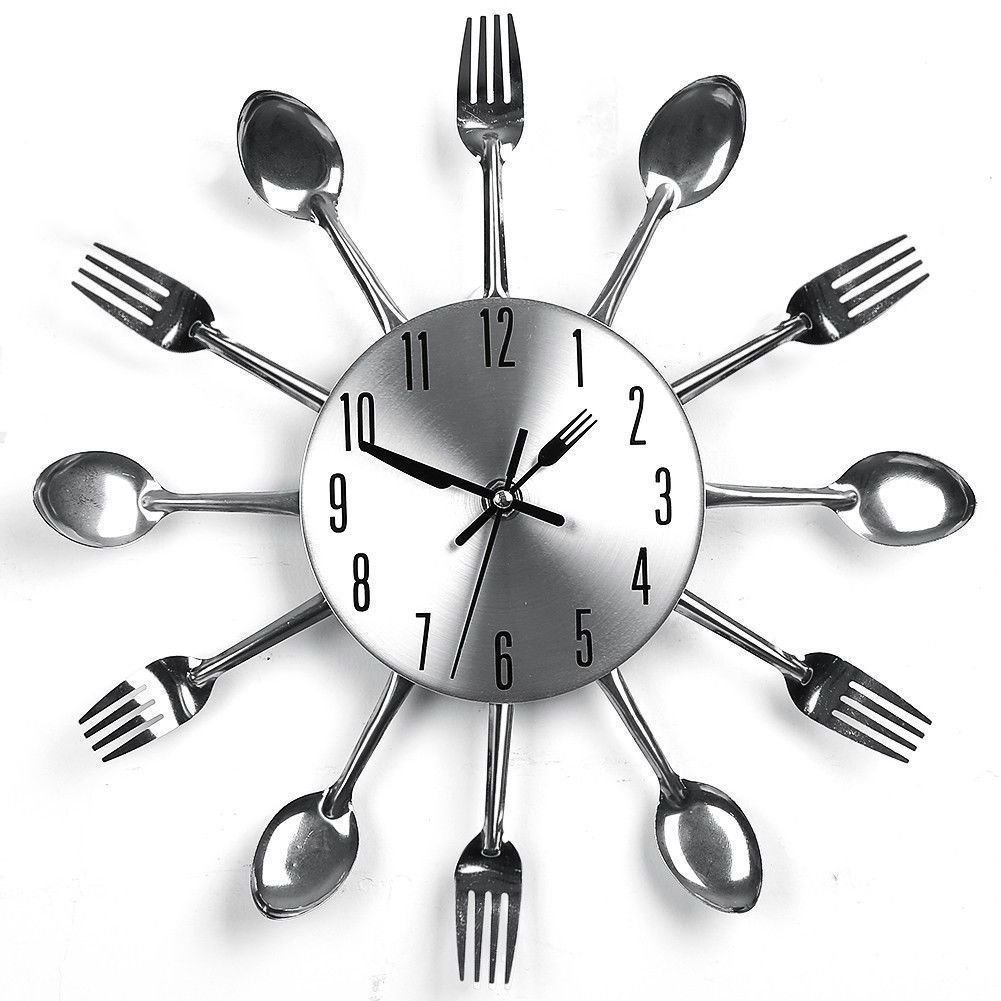 New Fashion Design Spoons&Forks Clock Silver Cutlery Kitchen Utensil Wall Clock
