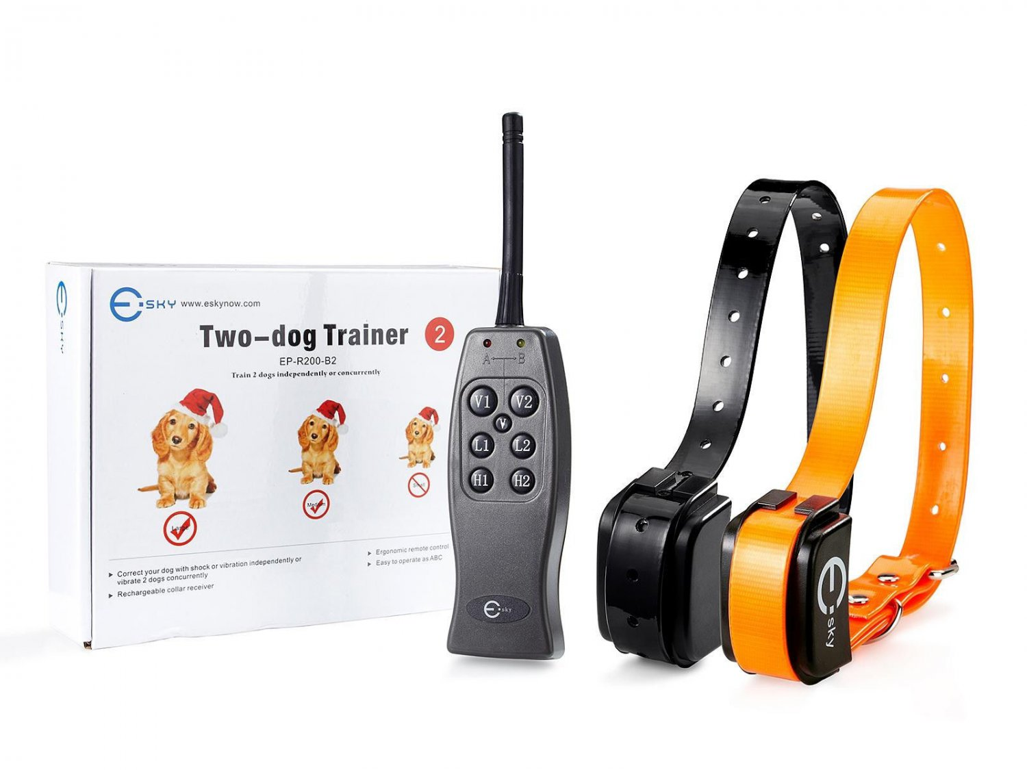 Waterproof Rechargeable 2 Dog Shock Training Collar Perfect for 15-100 lbs Dogs