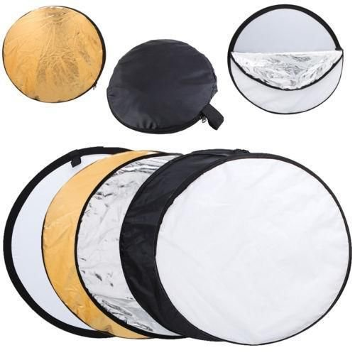 43 110cm 5-in-1 Light Multi Collapsible Disc Photography Reflector Silver-White
