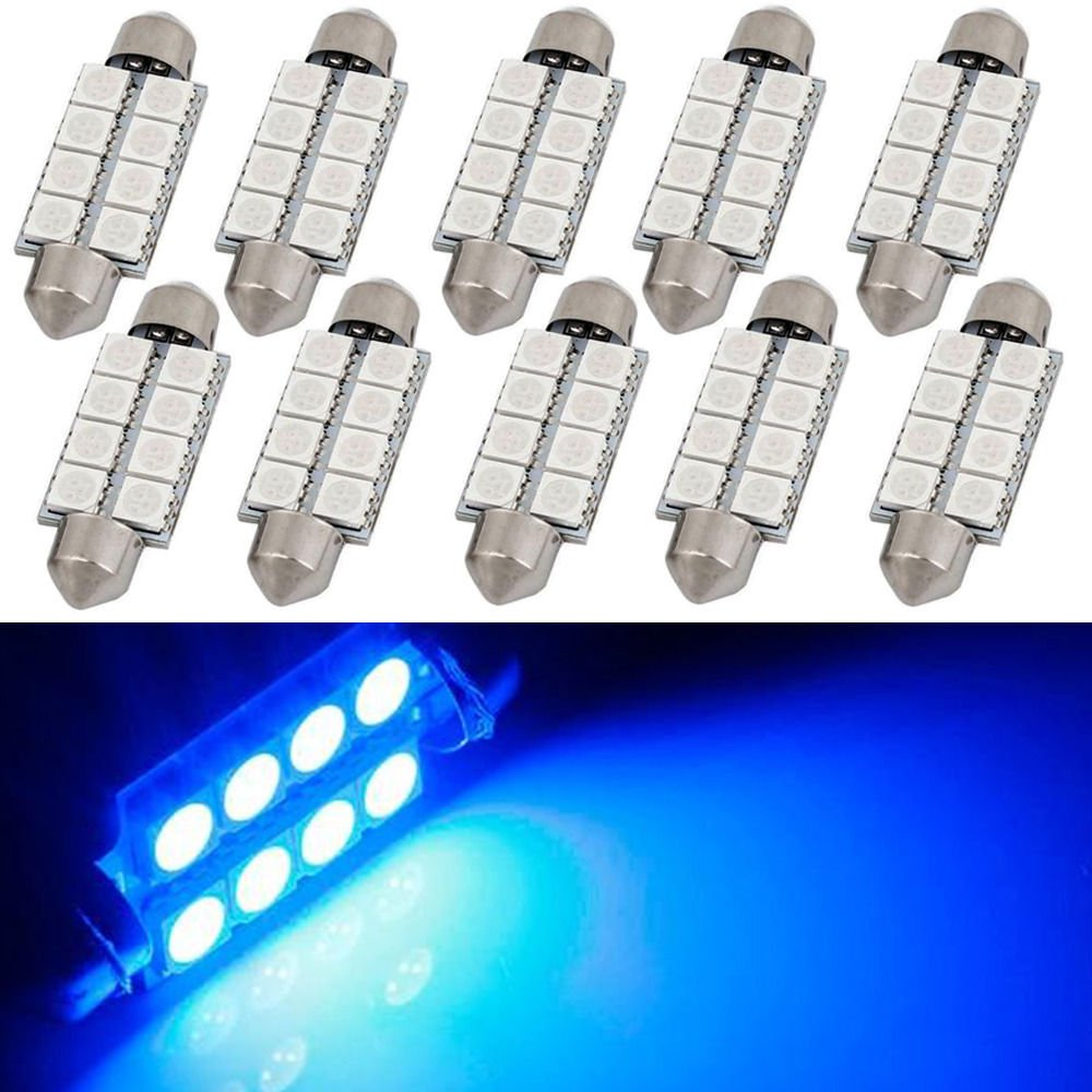 10 x New Ultra Blue 42MM Festoon 569 578 211-2 Interior Dome Map LED Light bulbs
