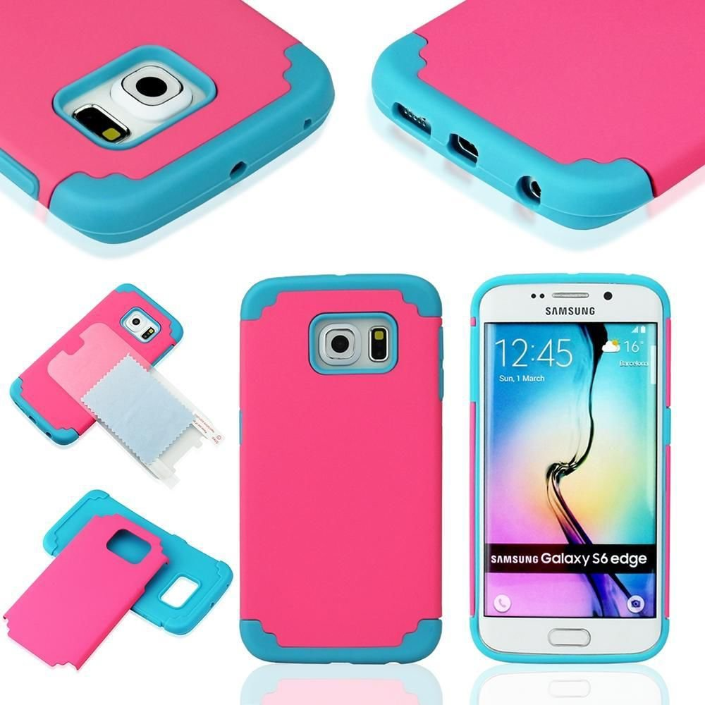 Black Hybrid Rugged Rubber Hard Matte Case Cover For Samsung Galaxy S6 Edge