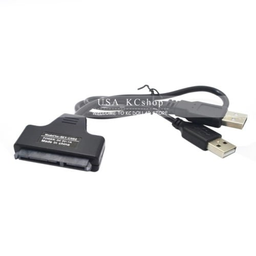 New Power Data USB 2.0 to SATA 7,15 Pin 22Pin Adapter Cable For 2.5  Hard Drive