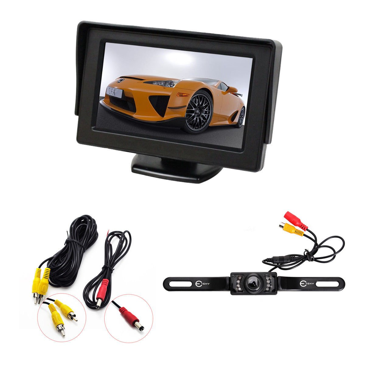 1-4 Inch Color CMOS Car Rear View Backup Reverse Camera 4.3 TFT LCD Monitor