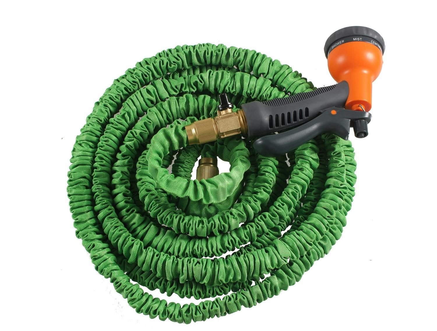 E double latex 100 ft expandable garden water hose spray nozzle Expandable garden hose 100 ft