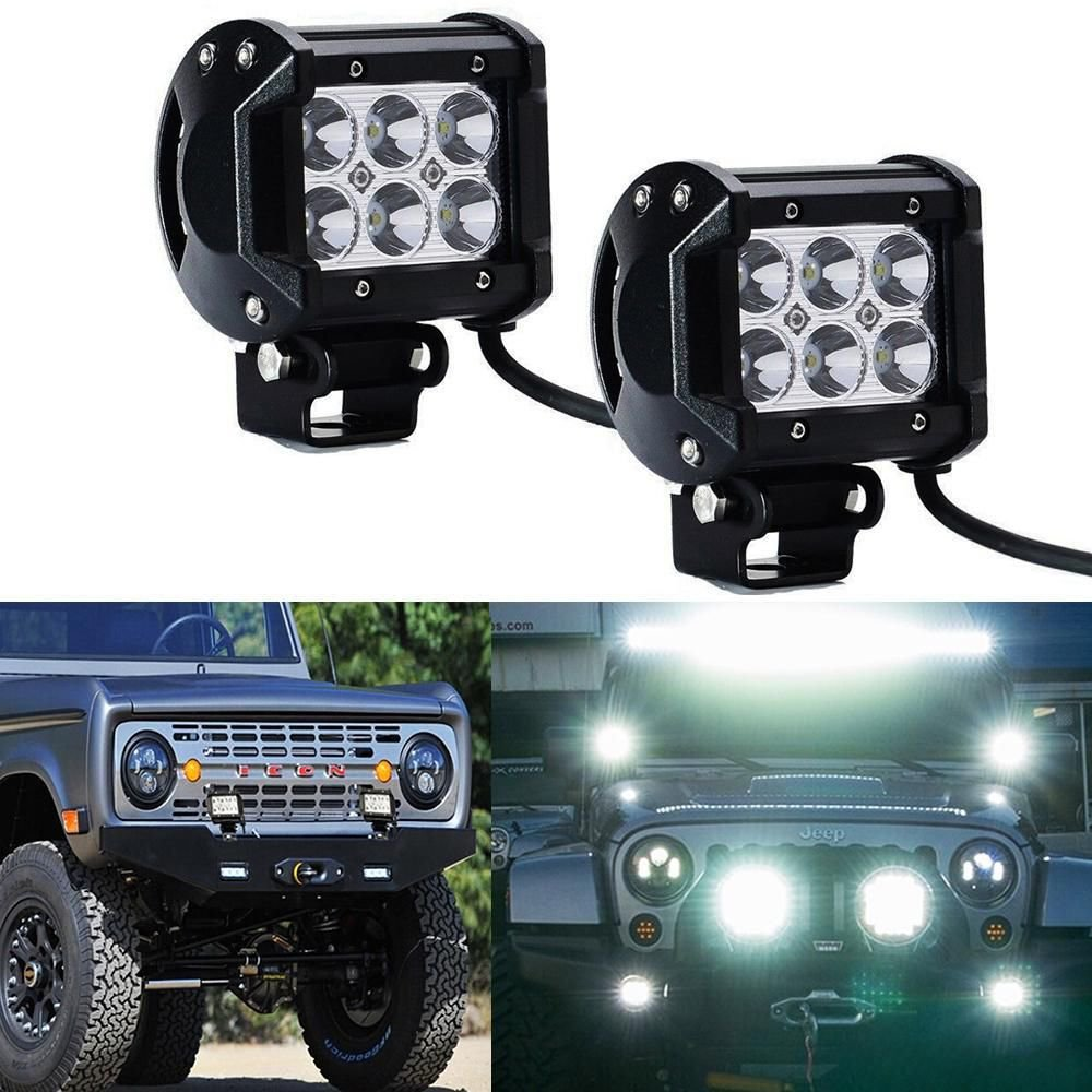 2 x LED Light Bar 4inch 18w Flood Beam Motorcycle Work Offroad Fog Driving