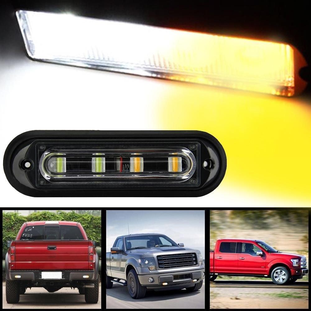 Super Bright 4 LED Waterproof Car Truck Strobe Flash Light DRL Amber 12-24V