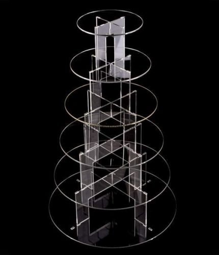 6 Tier Acrylic Round Cupcake Wedding Party Birthday Cake Stand Display Solid