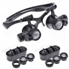 New 10X LED Double Eye Jeweler Watch Repair Magnifier Glasses Loupe 9892