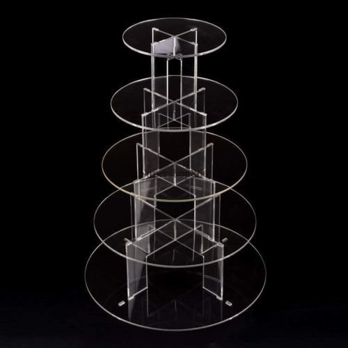 New 5 Tier Cupcake Stand Clear Round Acrylic Party Wedding Birthday Cake