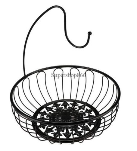ruit Bowl Chrome Wire Basket Storage Bin Kitchen Counter Banana Hanger Hook