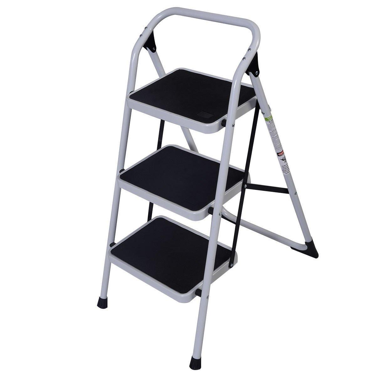 New HD 3 Step Ladder Platform Lightweight Folding Stool 330 LB Cap Space Saving