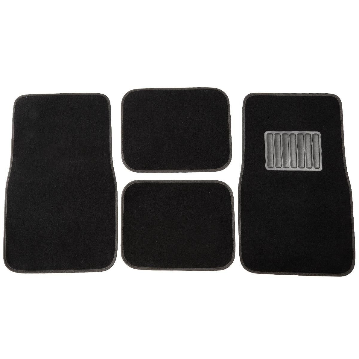 New Universal 4 PC Solid Car Floor Carpet Mat Pad Truck SUV VAN Mats Black