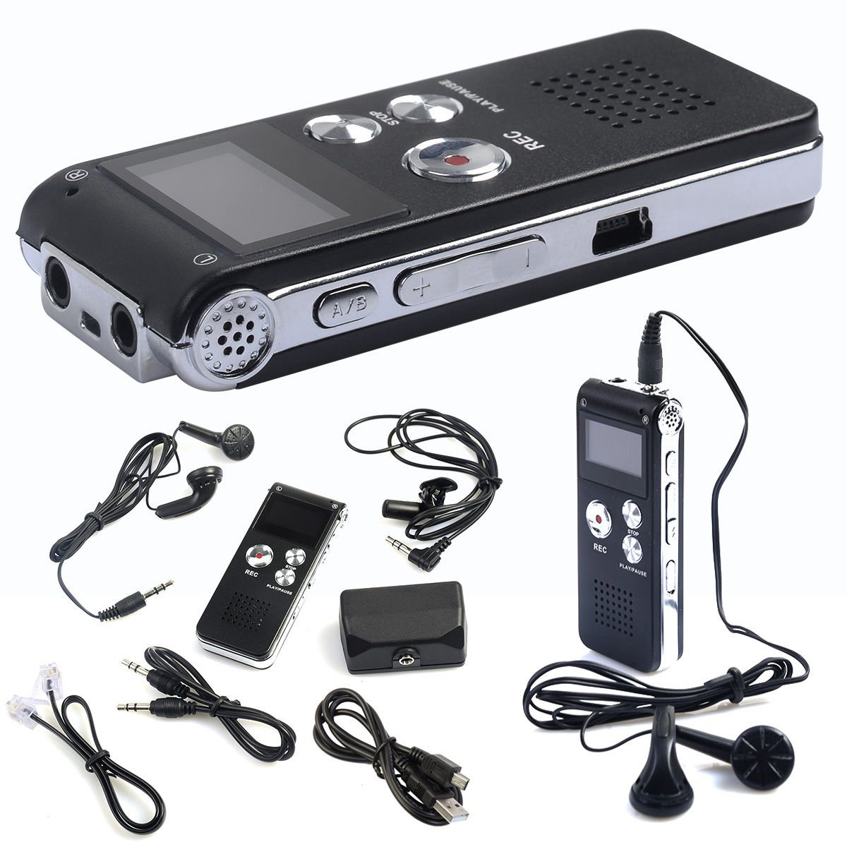 8GB Rechargeable Digital Audio Voice Recorder Dictaphone Telephone MP3 Player