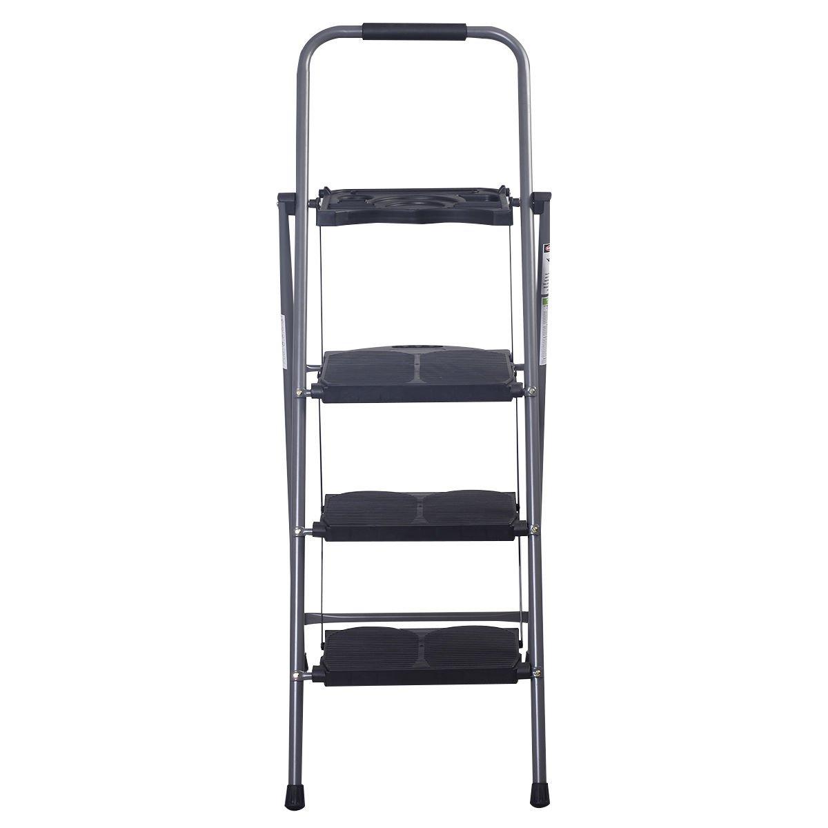 3 Step Ladder Platform Folding Stool 330 LBS Capacity Space Saving Tray
