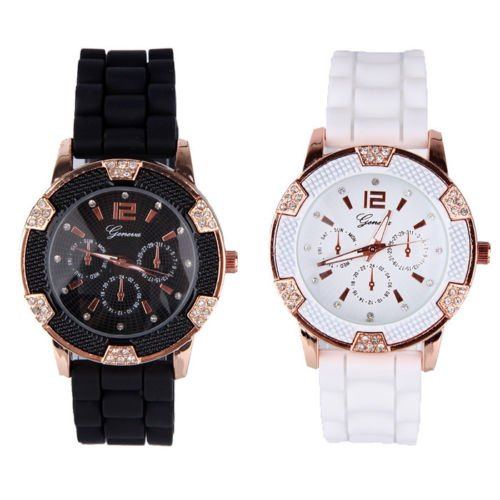 Black and White Rosegold Faux Chronograph Silicone Crystal Wrist Watch Gift