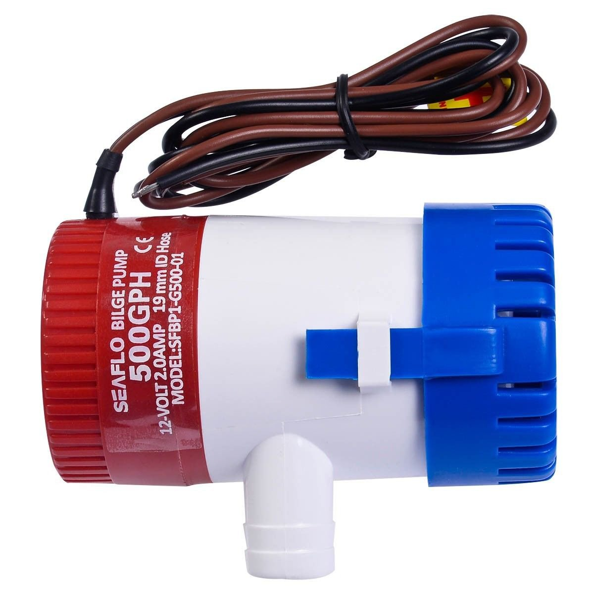 12V 2.0A 500 GPH Electric Bilge Pump Marine Boat Yacht Submersible 3-4 Hose