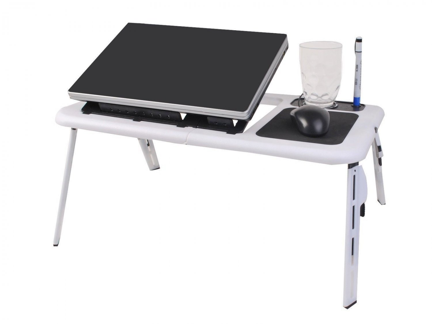 Foldable Laptop Table Tray Desk Cooling Fan Tablet Desk Stand Bed Sofa Couch