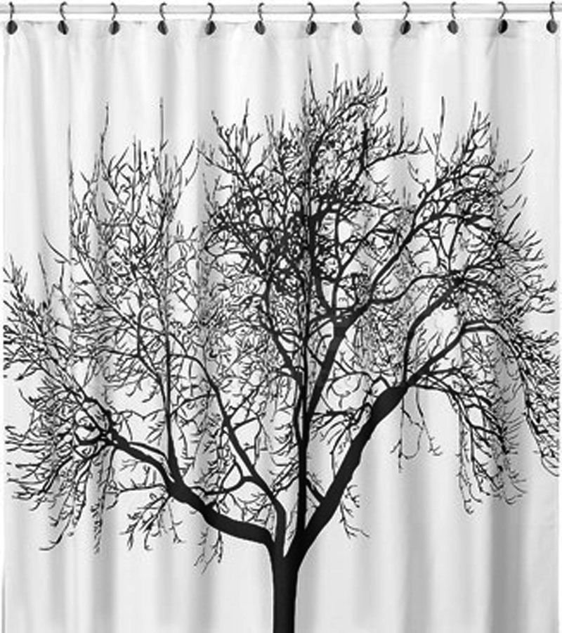 Hotel Big Tree Bath Shower Curtain Hooks Bathroom Set 180cmx180cm