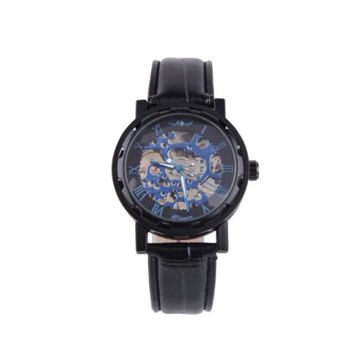 New Classic Men's Leather Skeleton Mechanical Sports Army Watch