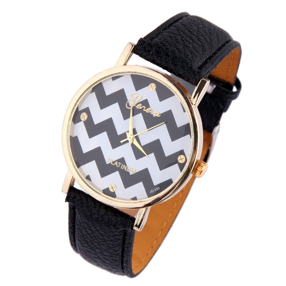 New Women's Geneva Chevron Style Leather Watch - Black