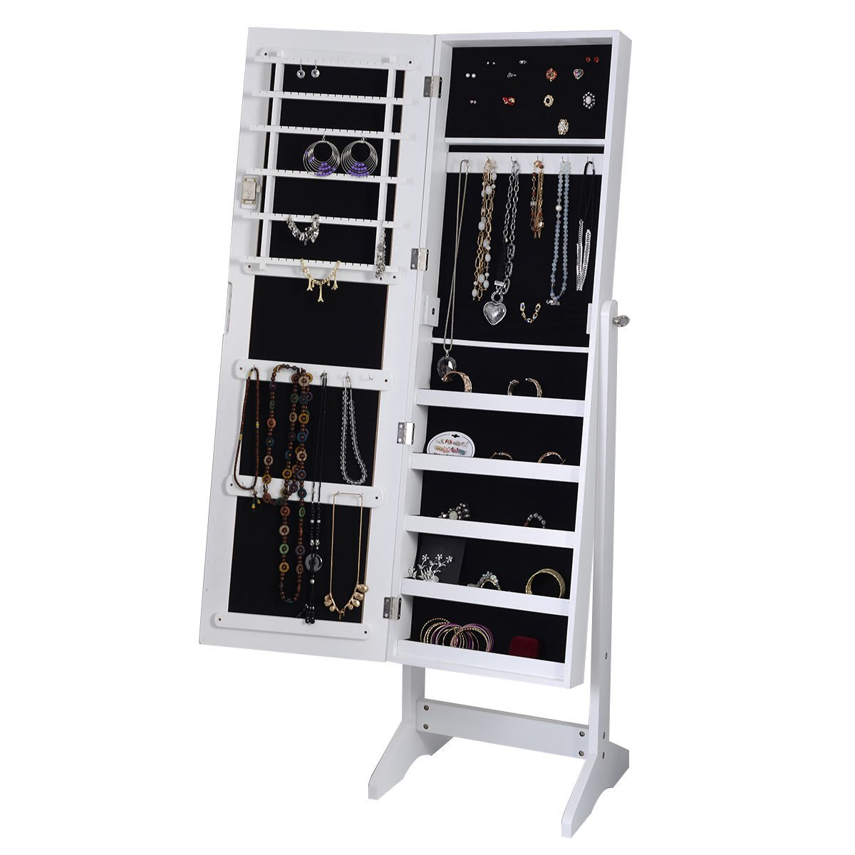 White mirrored jewelry cabinet armoire mirror organizer for Mirror jewelry cabinet