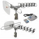 HDTV 1080P Outdoor Amplified Antenna Digital HD TV 150 Mile 360 Rotor UHF-VHF-FM