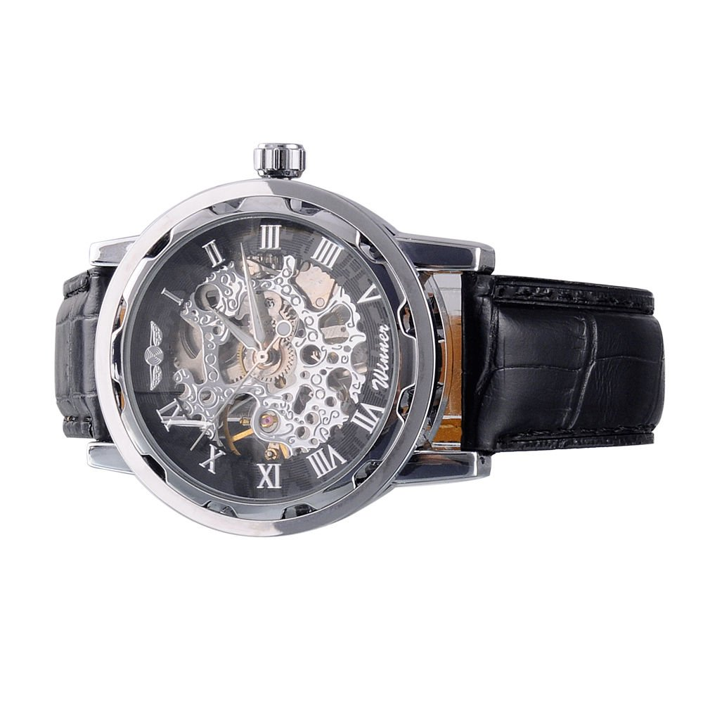 Winner Classic Men's Black Leather Roman Dial Skeleton Mechanical Wrist Watch