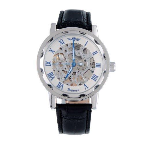 Winner Classic Men's Black Leather Roman Dial Skeleton Mechanical Wrist Watch