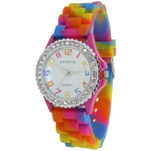 Geneva Rhinestone Rainbow Girls Ladies Women's Jelly Silicone Wrist Watch