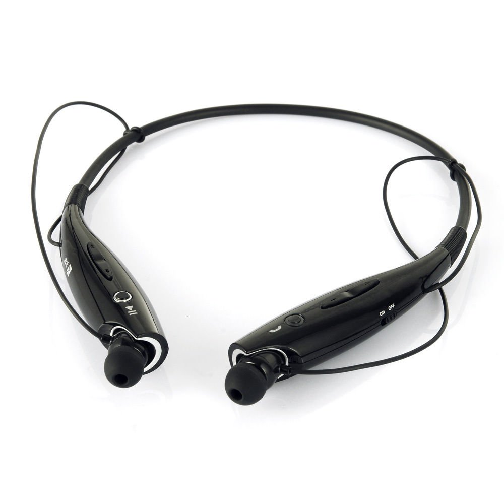 Black Wireless Bluetooth HandFree Sport Stereo Headphone for iPhone Samsung LG