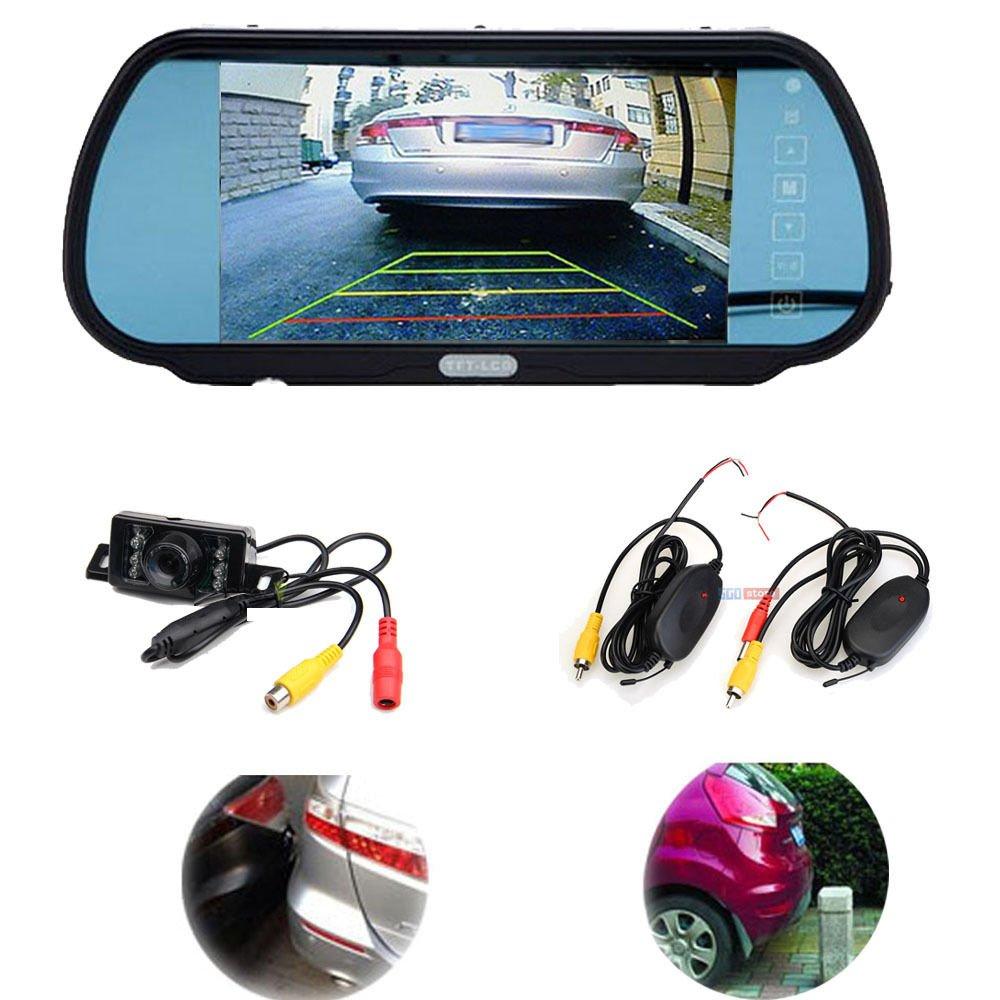 7 Car TFT LCD Rear View Mirror Monitor,Wireless Reverse Backup CMOS IR Camera