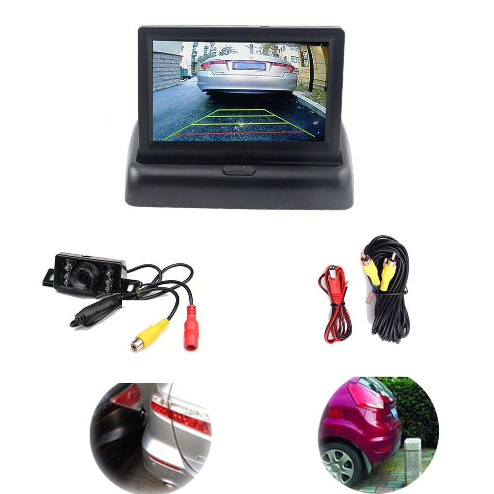 4.3 Car Fordable Rear View Monitor,Night Vision Reverse Backup CMOS IR Camera