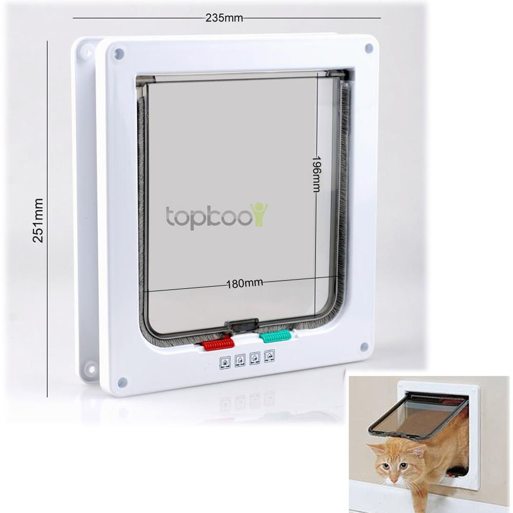 New Locking Lockable Small Dog Cat Flap 9.9 x 9.3 x 2.1 White