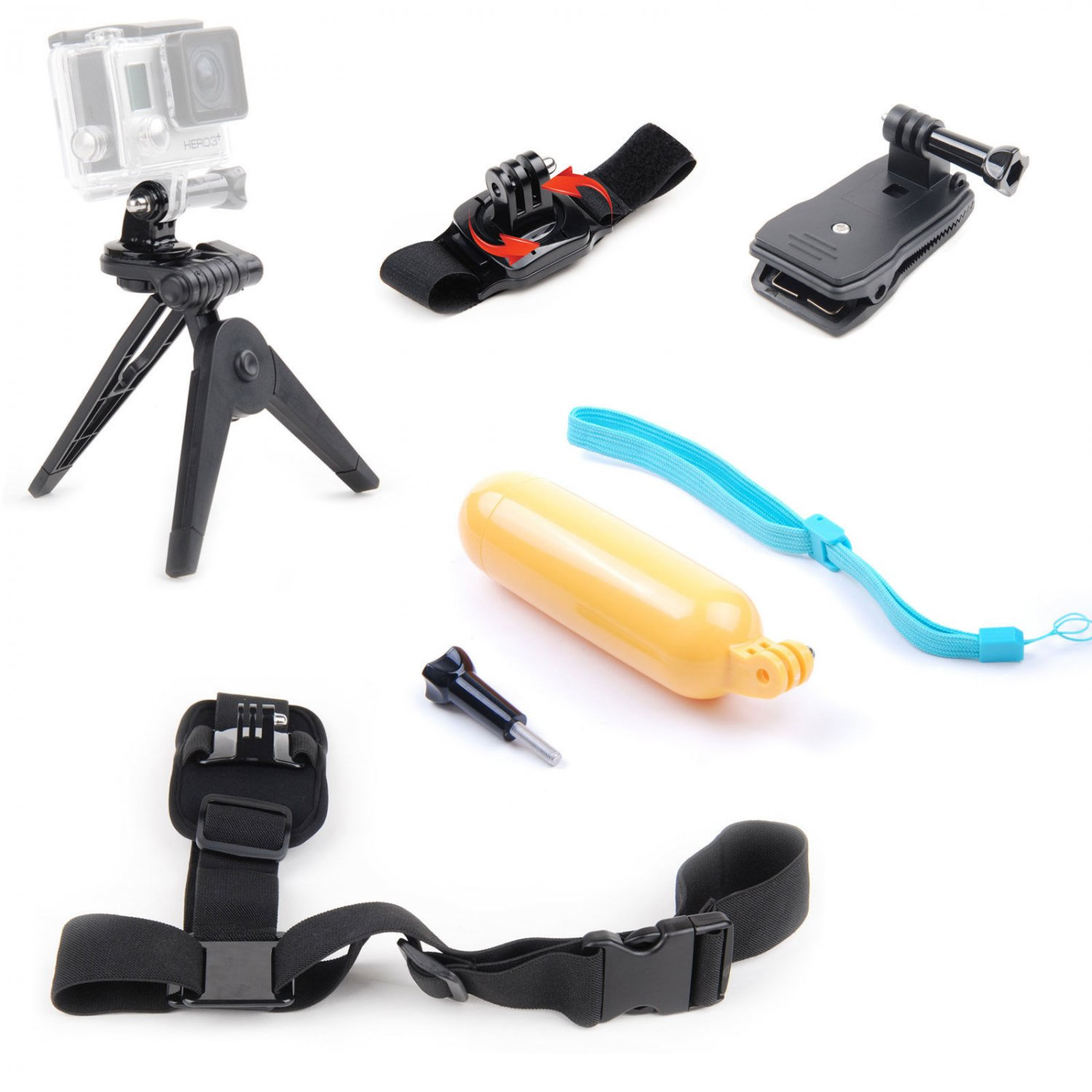 Accessories Kit Mini Tripod Shoulder Wrist Strap Hand Grip Clamp Mount for GoPro