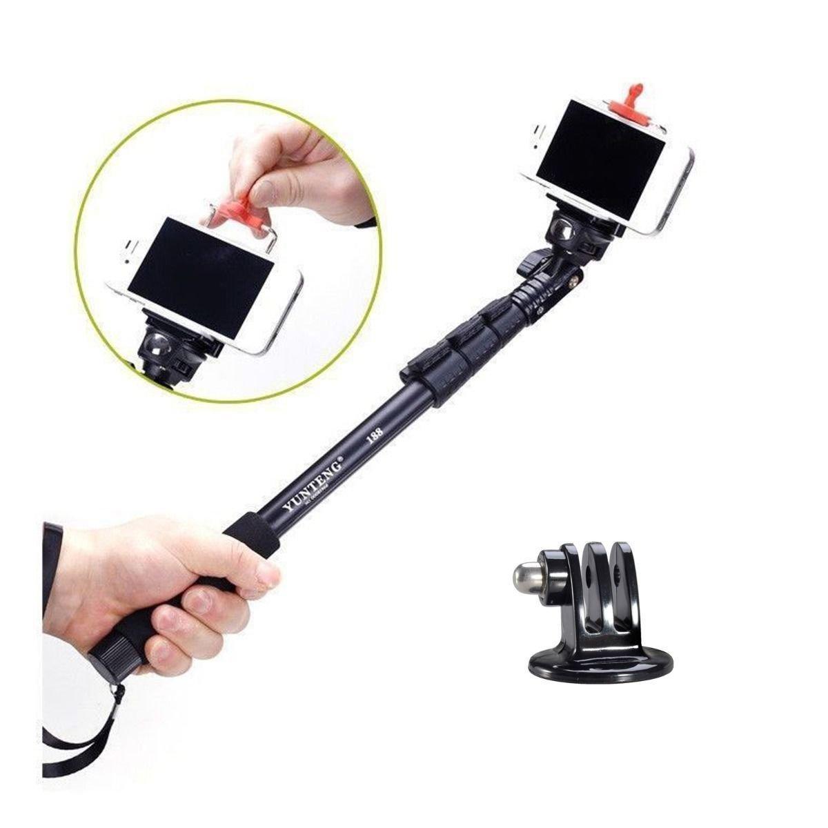 extended selfie monopod handheld stick pole for iphone 6 5s gopro hero 4 3 3 2. Black Bedroom Furniture Sets. Home Design Ideas