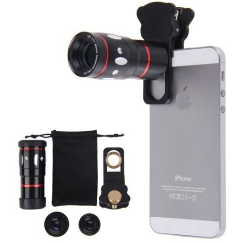 4 in 1 10x Zoom Telephoto Fish Eye Wide Angle Micro Clip Lens For iPhone 5S 5 4S